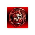 Red Goth Dragon Skull Magnet (Square)