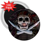 Pirate Flag Skull and Treasure Map 3  Magnet (100 pack)