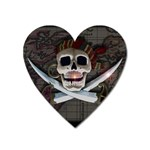 Pirate Flag Skull and Treasure Map Magnet (Heart)