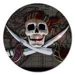 Pirate Flag Skull and Treasure Map Magnet 5  (Round)