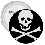 Classic Pirate Flag Skull and Bones 3  Button