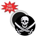 Pirate Flag Skull and Bones 1.75  Magnet (100 pack)