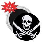 Pirate Flag Skull and Bones 2.25  Magnet (10 pack)