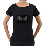 3-D Gothic Fantasy Cathedral Maternity Black T-Shirt
