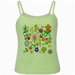 Summer Florals Green Spaghetti Tank