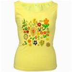 Summer Florals Women s Tank Top (Yellow)