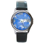 Abstract Clouds Round Leather Watch (Silver Rim)