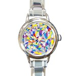 Fractured Facade Round Italian Charm Watch