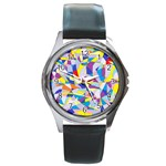 Fractured Facade Round Leather Watch (Silver Rim)
