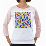 Fractured Facade Women s Long Cap Sleeve T-Shirt (White)