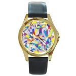Fractured Facade Round Leather Watch (Gold Rim)