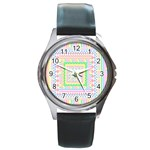 Layered Pastels Round Leather Watch (Silver Rim)