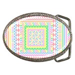 Layered Pastels Belt Buckle (Oval)