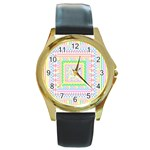 Layered Pastels Round Leather Watch (Gold Rim)