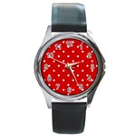 White Stars On Red Round Leather Watch (Silver Rim)