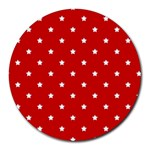 White Stars On Red 8  Mouse Pad (Round)