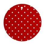White Stars On Red Round Ornament