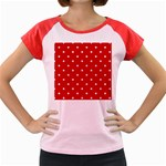 White Stars On Red Women s Cap Sleeve T-Shirt (Colored)