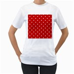 White Stars On Red Women s Two-sided T-shirt (White)
