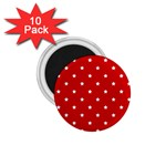 White Stars On Red 1.75  Button Magnet (10 pack)