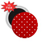 White Stars On Red 2.25  Button Magnet (10 pack)