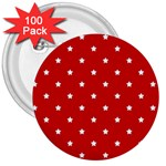 White Stars On Red 3  Button (100 pack)