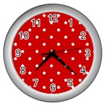White Stars On Red Wall Clock (Silver)
