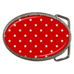 White Stars On Red Belt Buckle (Oval)