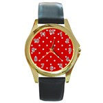 White Stars On Red Round Leather Watch (Gold Rim)