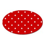 White Stars On Red Magnet (Oval)