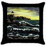 Cosgriff Point Lighthouse -AveHurley ArtRevu.com- Throw Pillow Case (Black)