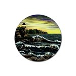Cosgriff Point Lighthouse -AveHurley ArtRevu.com- Rubber Round Coaster (4 pack)