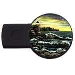 Cosgriff Point Lighthouse -AveHurley ArtRevu.com- USB Flash Drive Round (4 GB)