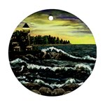 Cosgriff Point Lighthouse -AveHurley ArtRevu.com- Round Ornament (Two Sides)