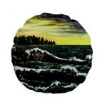 Cosgriff Point Lighthouse -AveHurley ArtRevu.com- Standard 15  Premium Round Cushion