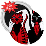 Cool Cats 3  Button Magnet (100 pack)