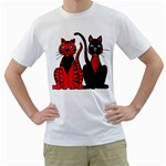 Cool Cats Men s Two-sided T-shirt (White)