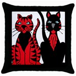 Cool Cats Black Throw Pillow Case
