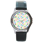 Pastel Bubbles Round Leather Watch (Silver Rim)
