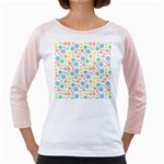 Pastel Bubbles Women s Long Cap Sleeve T-Shirt (White)
