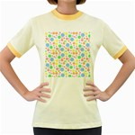 Pastel Bubbles Women s Ringer T-shirt (Colored)