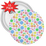 Pastel Bubbles 3  Button (10 pack)