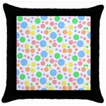 Pastel Bubbles Black Throw Pillow Case
