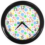 Pastel Bubbles Wall Clock (Black)