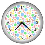 Pastel Bubbles Wall Clock (Silver)
