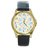 Pastel Bubbles Round Leather Watch (Gold Rim)