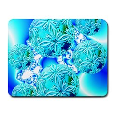 Blue Ice Crystals, Abstract Aqua Azure Cyan Small Mousepad from Diane Clancy Art Front