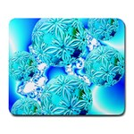 Blue Ice Crystals, Abstract Aqua Azure Cyan Large Mousepad
