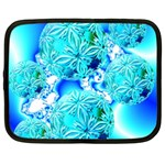 Blue Ice Crystals, Abstract Aqua Azure Cyan Netbook Case (XL)