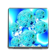 Blue Ice Crystals, Abstract Aqua Azure Cyan Memory Card Reader with Storage (Square) from Diane Clancy Art Front